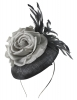 Failsworth Millinery Button Asoct Headpiece in Shadow & Platinum