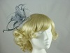 Aurora Collection Fascinator with Curled Fabric and Biots in Silver
