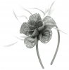 Elegance Collection Diamante Flower Fascinator in Silver