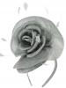 Elegance Collection Rose Pillbox Headpiece in Silver