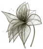 Elegance Collection Sinamay Leaf Fascinator in Silver