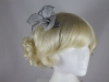 Elegance Collection Sinamay Small Leaves Fascinator in Silver