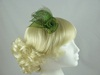 Sinamay Swirl & Ostrich Feather Fascinator in Green