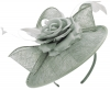 Failsworth Millinery Silk Rose Disc Headpiece in Steel