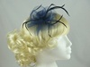 Aurora Collection Swirl & Biots Fascinator on clip in Navy