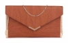 Papaya Fashion Envelope Faux Leather Bag in Tan