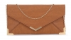 Papaya Fashion Faux Leather Envelope Bag in Tan