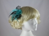 Two Tone Rose Fascinator in Teal & Black
