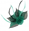 Aurora Collection Two Tone Rose Fascinator in Teal & Black