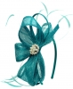 Elegance Collection Sinamay Headpiece Fascinator in Teal