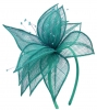 Elegance Collection Sinamay Leaf Fascinator in Teal