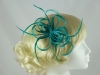 Loops in Hessian Fascinator in Teal