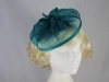Sinamay Veil and Leaves on clip in Teal