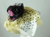Top Hat with Veil Fascinator in Black & Bright pink