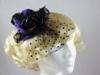 Top Hat with Veil Fascinator in Black & Purple