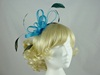 Aurora Collection Fascinator with Loops and Gem in Turquoise