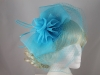 Organza and Net Fascinator in Turquoise