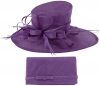 Max and Ellie Events Hat with Matching Large Occasion Bag in Violet
