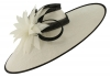 Failsworth Millinery Ascot Saucer Headpiece in White & Navy