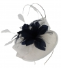 Failsworth Millinery Quills Disc Headpiece in White & Navy