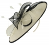 Failsworth Millinery Sinamay Leaves Disc in White & Navy