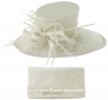 Max and Ellie Events Hat with Matching Large Occasion Bag in White