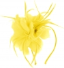 Aurora Collection Feather Aliceband Fascinator in Yellow
