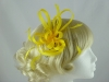 Aurora Collection Fascinator with Loops and Feathers in Yellow
