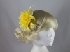 Flower with Biots Fascinator in Yellow