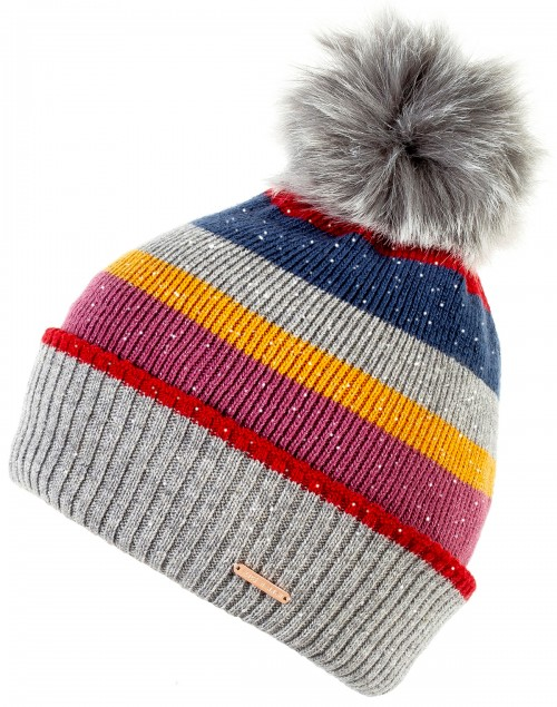 Alice Hannah Laney Stripey Sparkly Beanie Bobble Hat