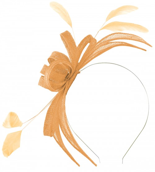 Failsworth Millinery Aliceband Sinamay Fascinator in Apricot