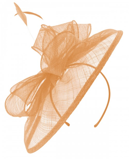 Failsworth Millinery Sinamay Disc Headpiece in Apricot