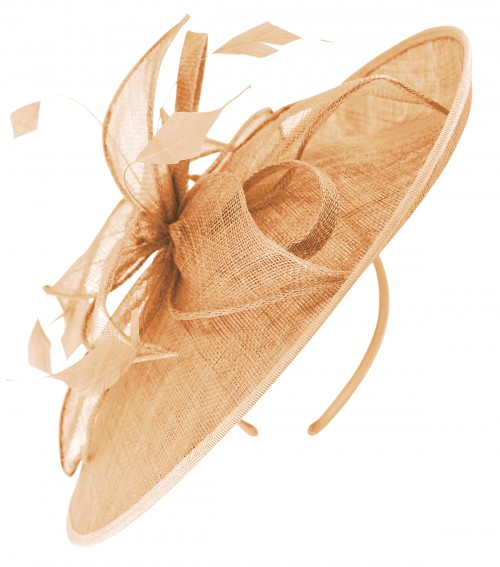 Failsworth Millinery Sinamay Leaves Disc in Apricot