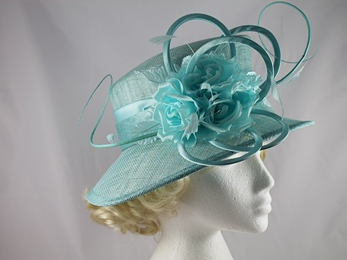 d09c54e6fb349 Maddox Flower Wedding Hat in Aqua