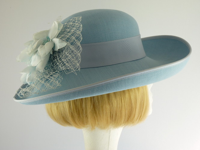 e9194973 Wedding hat Pale Blue and White in Blue - Wedding Hats 4U