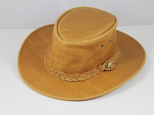 B.E. Hats Leather Hat in Light Brown
