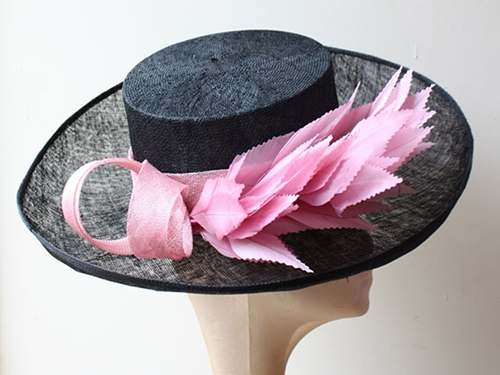 Couture by Beth Hirst Black and Pink Upturned Brim Hat