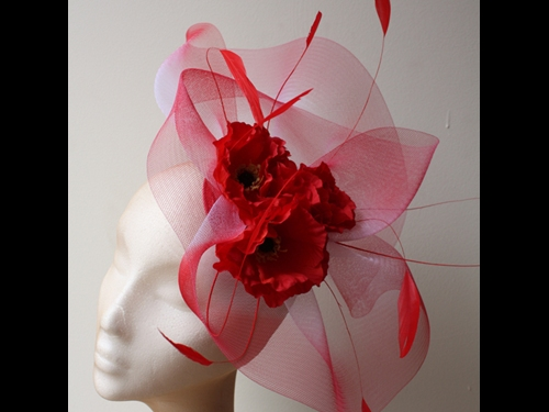 Couture by Beth Hirst Poppy Red Flowers with Crin and Feathers
