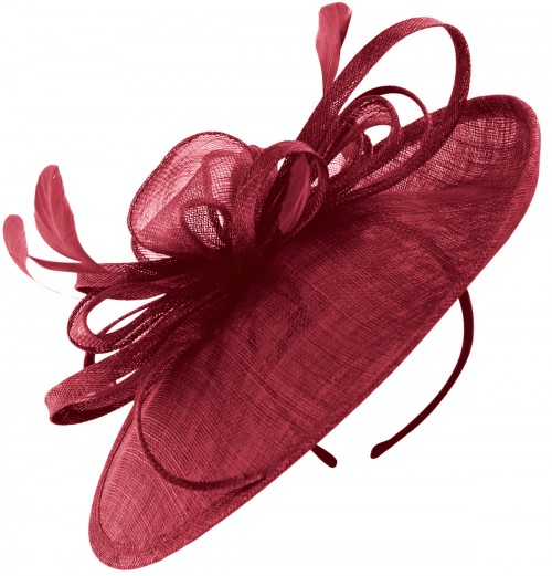 Failsworth Millinery Loops and Feathers Disc Headpiece in Berry