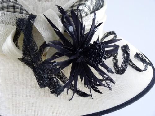 Cappelli Condici Cream and Black Occasion hat