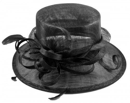 Elegance Collection Sinamay Loops Wedding Hat in Black