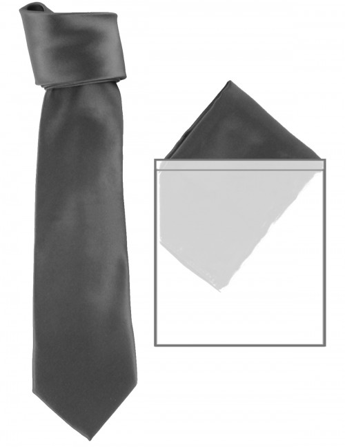 Max and Ellie Mens Tie and Pocket Square Set in Black