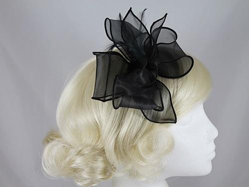 efc919f61f2c Wedding Hats 4U - Molly and Rose Organza Fascinator in Black