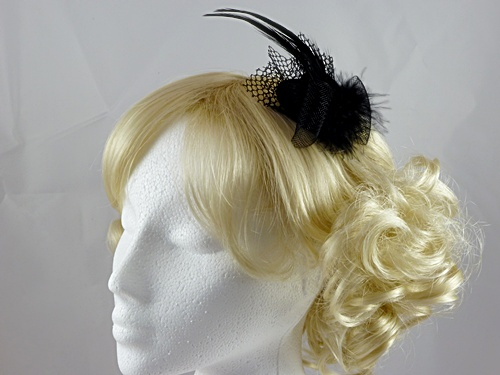 Black Micro Hat with Feathers