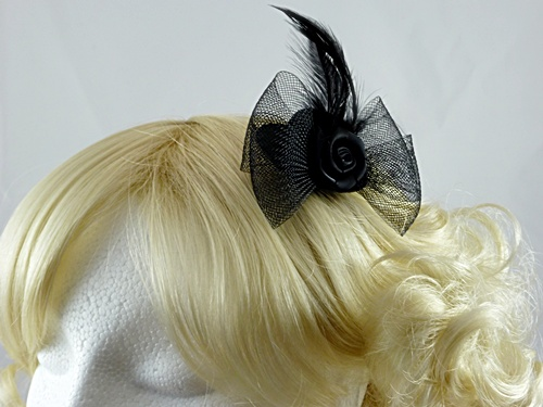 Black Micro Hat with Flower