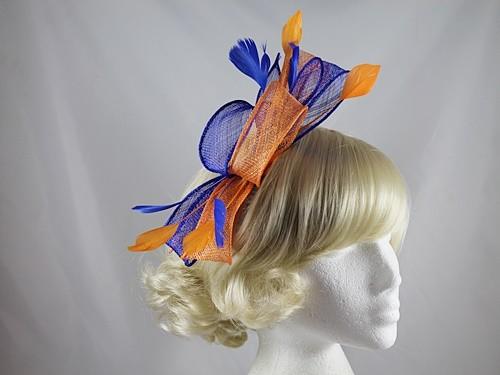 5c3e69d3 Wedding Hats 4U - Large Loop Fascinator in Blue & Orange