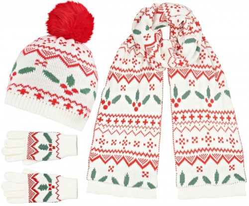 Boardmans Holly Bobble Hat with Matching Scarf and Gloves