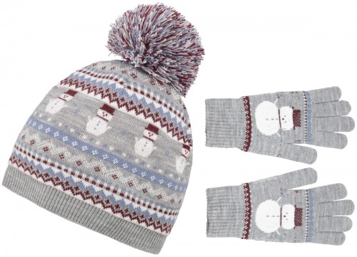 Boardman Snow Bobble Hat with Matching Gloves