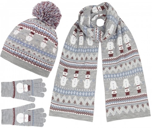 Boardmans Snow Bobble Hat with Matching Scarf and Gloves