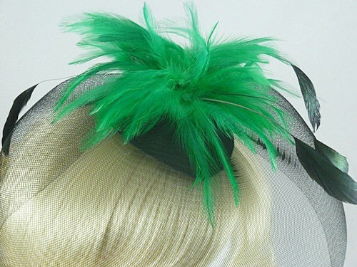 Bright Feather & Veil Fascinator